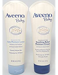 Aveeno Baby Combo Pack: 8 oz Daily Moisture Lotion & 8 oz Soothing Relief Moisture Cream BOBEBE Online Baby Store From New York to Miami and Los Angeles