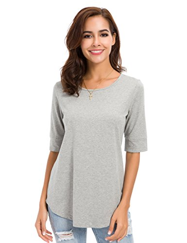 (nordicwinds Womens Casual Cotton Fitted T Shirt Half Sleeve Tee Blouse,Gray,XX-Large)
