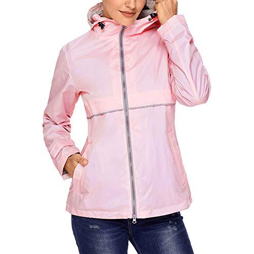 (SUNDAY ROSE Women Rain Jacket Lightweight Waterproof Raincoat Hooded Windbreaker,Pink,Size)