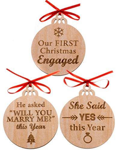 MaxDigital Set of 3 Our First Christmas Engagement Ornament