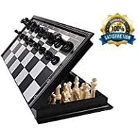 Cable World® Folding 100% Standard Materials and Smooth Surface Magnetic Chess Board Black and White