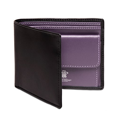 Ettinger Men's Sterling Billfold with 3 Credit Card Slips, Black and Purple