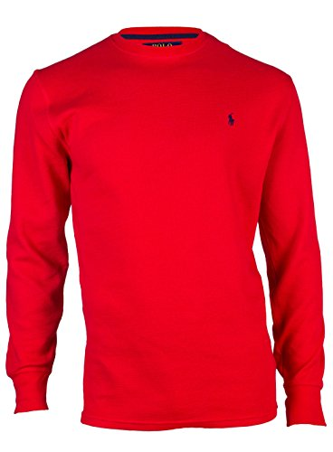 Polo Ralph Lauren Mens Long-sleeved T-shirt / Sleepwear (Small, Red/Navy Blue Pony)
