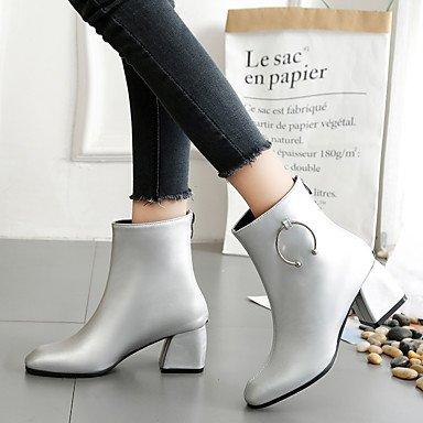 Confort Hiver Demi Décontracté Chaussures Femme Bottine Gros Bottes Argent Noir Pour silver Talon Polyuréthane Botte Automne DESY xIgXwqvOI