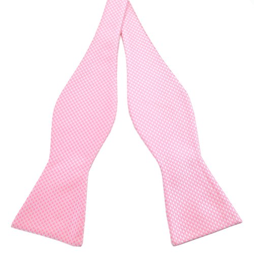 (PenSee Mens Self Bow Tie Classic Houndstooth Series Woven Silk Bow Ties (Pink &)