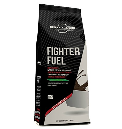 - Pre Ground Coffee Blend - Fighter Fuel - Peak Performance Light Roast Premium Arabica Coffe + 250mg Korean Red Panax Ginseng Root Extract Powder Per Serving! By Bro Labs & Brandon Carter
