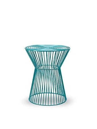 Turquoise 18 metaliron corset wire indoor outdoor stool accent turquoise 18quot metaliron corset wire indoor outdoor stool accent table greentooth Gallery