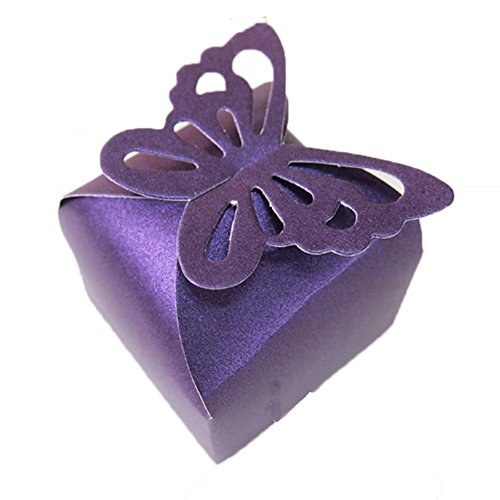 50PCS Butterfly Top Wedding Party Favor Box Gift Wrap Holder Bridal Shower Party Decoration (Purple)