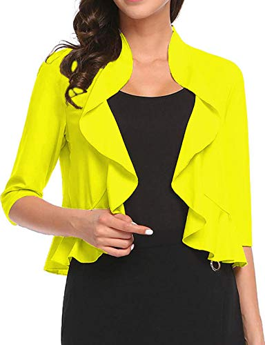 Women's Open Front Cropped Cardigan 3/4 Sleeve Casual Shrugs Jacket Draped Ruffles Lightweight Sweaters (Yellow, XX-Large) ()