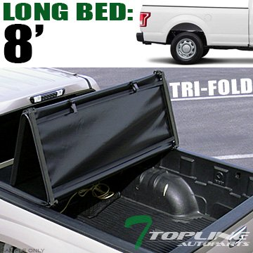 Topline Autopart Tri Fold Soft Vinyl Truck Bed Tonneau Cover For 15-18 Ford F150 Regular (Standard)/Super (Extended) Cab 8 Feet (96