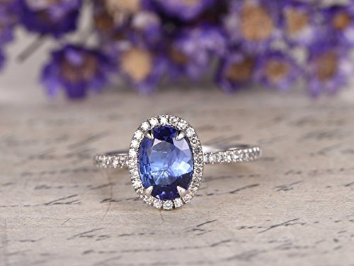 Tanzanite Engagement Ring Solid 14k White Gold 6x8mm Oval Cut Natural Blue Gemstone Diamond Halo Half Eternity Thin Wedding Band Minimalist Bridal Rings Anniversary Gift Birthstone ()