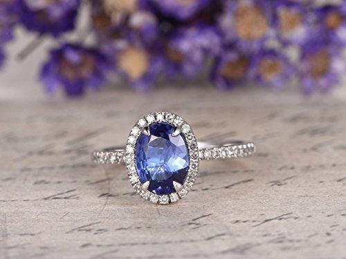 (Tanzanite Engagement Ring Solid 14k White Gold 6x8mm Oval Cut Natural Blue Gemstone Diamond Halo Half Eternity Thin Wedding Band Minimalist Bridal Rings Anniversary Gift)