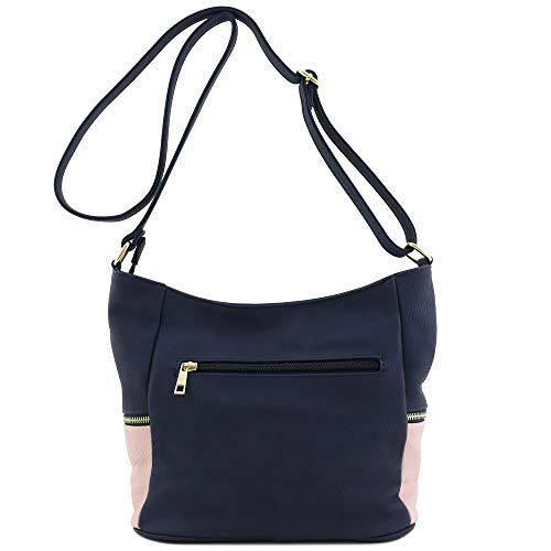 Bucket Pink Crossbody Navy Bag Zipper Tassel 7gw0fX5qgx