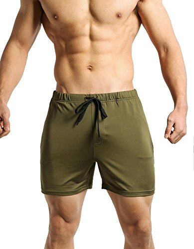 Tough Mode Mens Slim Fitted WOD Shorts Bodybuilding Workout MMA Crossfit Training Volleyball Gym Running Lifting Shorts With Side Zipper Pocket , Army Green , Small  ()