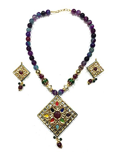 Mogul intérieur indien femmes de State T Jewelry Fashion Indi Exotic India Collier Boucles d'Oreilles Jeux 29,2cm Bleu