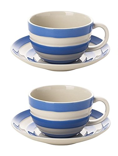 Cornishware Blue and White Stripe Set of 2 Breakfast Cups and Saucers