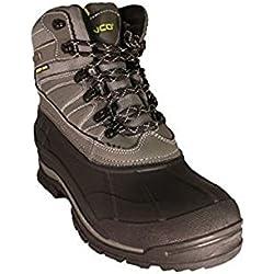 ZANCO MEN'S EXTRA WIDE WIDTH WATERPROOF BLACK/GREY LEATHER BOOTS #3702