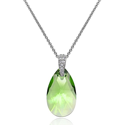 Sterling Silver Light Green Teardrop Pendant Necklace Made with Swarovski Crytals