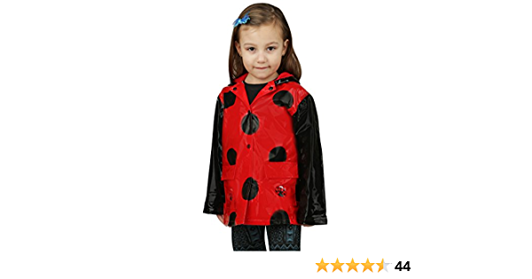 Toddler Puddle Play Little Girls Red Ladybug Waterproof Outwear Hooded Rain Coat