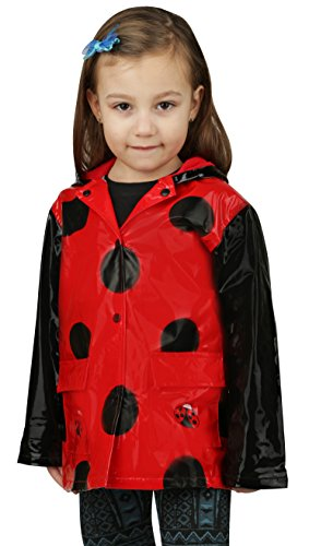 Little Girl's Red Ladybug Rain Coat Size X-Small - 4/5