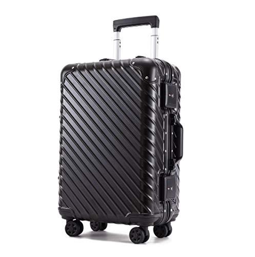 すべてのアルミフレーム21インチトロリーケースギフトスーツケースユニバーサルホイールスーツケース 21 ブラック B07PRKF8HR