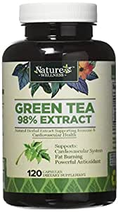 Green Tea 98% Extract Supplement - EGCG for Weight Loss, Boost Metabolism, Support Heart Health - Natural Caffeine Source for Gentle Energy - Antioxidant Free Radical Scavenger Pills