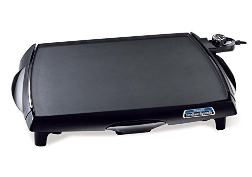 Slide Out Finish - Countertop Electric Griddle in Black Finish with Slide-out Drip Tray - Made From Heavy Cast Aluminum Base and Premium Non-stick Surface with Cool-touch Handles by Presto