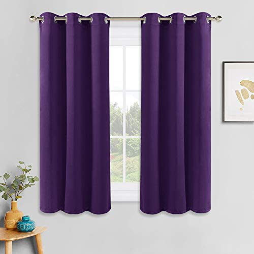 PONY DANCE Window Blackout Curtains - Room Darkening Thermal Insulated Elegant Light Blocking Curtains/Drapes Decoration for Bedroom, Royal Purple, 42