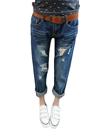 Basic P Crayon Boyfriend Hole Déchiré Dunkelblau Fashion Pantalon Hx Stretch Détruit Dames Jeans UqMpSzV
