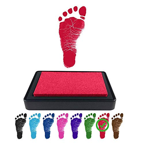 ReignDrop Ink Pad For Baby Footprint, Handprint, Create Impressive Keepsake Stamp, Non-Toxic and Acid-Free Ink, Easy To Wipe and Wash Off Skin, Smudge Proof, Long Lasting Keepsakes (Red)