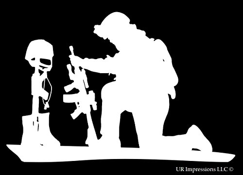 UR Impressions Soldier Praying Over Battlefield Cross Decal Vinyl Sticker Graphics for Car Truck SUV Van Wall Window Laptop|White|6.4 X 4.3 Inch|URI334