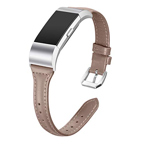 - bayite Bands Compatible Fitbit Charge 2, Slim Genuine Leather Band Replacement Accessories Strap Charge2 Women Men, Caramel Chocolate Small