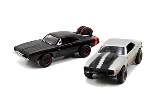Jada Toys Fast & Furious 1:32 Twin Pack - '67 Chevy Camaro Off Road, '70 Dodge R/T Off Road, Silver/Black (Fast And Furious 7 Dodge Charger Off Road)