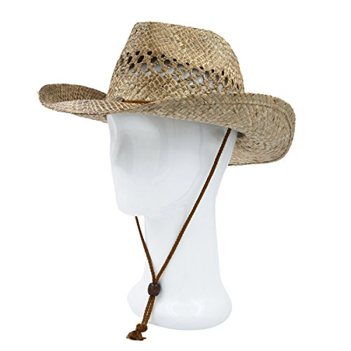 Classic Solid Color Cowboy Straw Hat, Tan
