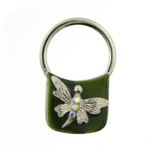 Adorable Vintage Enamel - 1928 Jewelry Green Enamel Butterfly Key Ring