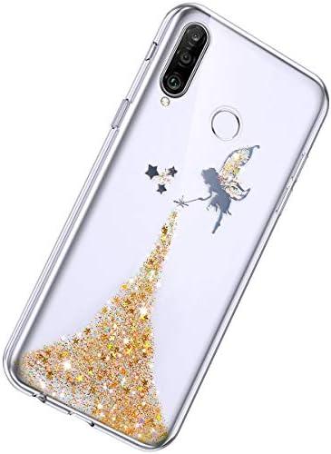 Herbests Kompatibel mit Huawei P30 Lite Hülle Glänzend Glitter Bling Glitzer Kristall Sterne Engel Mädchen Durchsichtig TPU Silikon Handyhülle Crystal Case Dünn Bumper Tasche Etui,Gelb
