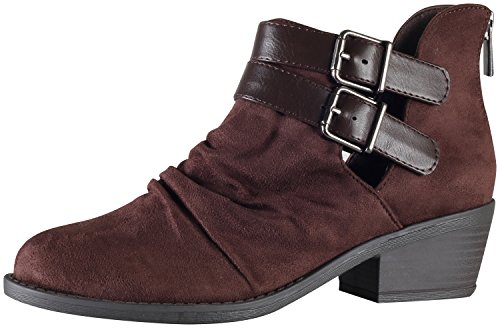 Verity Stacked Bootie Side Double Buckle Heel Soda Ankle Ruched Cut Out Chocolate Side Women's gwwZa5
