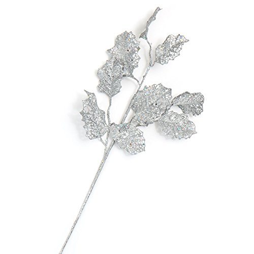Factory Direct Craft Silver Sparkling Holly Leaf Floral Picks   6 Holly Picks   For Holiday Decor