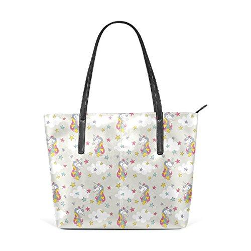 COOSUN Unicornio de color con las estrellas patrón PU cuero bolso monedero y bolsos de la bolsa de asas para las mujeres Medio muticolour