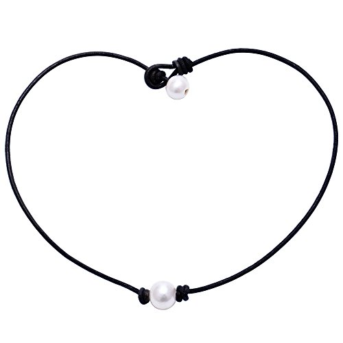 Aobei Pearl Single Cultured Freshwater Pearl Necklace Choker for Women Genuine Leather Jewelry Handmade 18'' Black