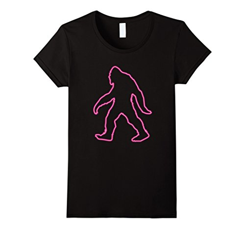 Womens 80s Retro Neon Sign Bigfoot T-Shirt. 80's Gift XL Black by Funny Vintage Retro Pool Party 80s Shirt