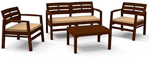JAVA Conjunto de jardín (sofá, sillones y mesa) de resina. incluye cojines. color moka: Amazon.es: Jardín