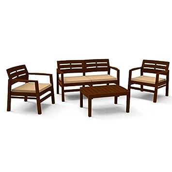 JAVA Conjunto de jardín (sofá, sillones y mesa) de resina ...