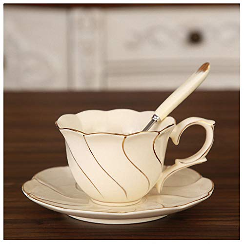 Gold Inlay Ivory Porcelain Coffee Cup Saucer Spoon Set Concise Ceramic Tea Cup 200 ml Advanced Cafe Teacup 1Cup