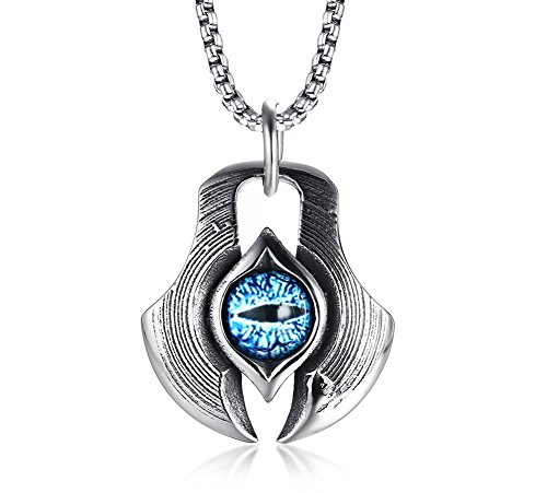 MPRAINBOW Men's Stainless Steel Dragon Necklace Greek Blue Dragon Evil Eye Axe Casting Dog Tag Pendant Amulet Necklace ()
