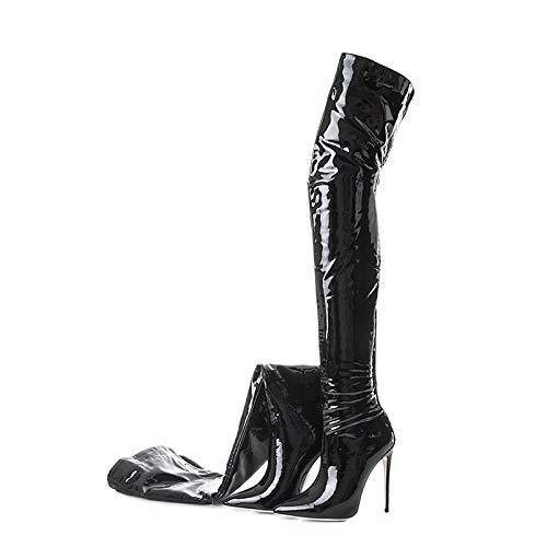 IWxez Bottes Verni Mode Femme Cuir Verni Bottes Printemps/Automne & Hiver Bottes Classiques Talon Aiguille à Bout Pointu Bottes Hauteur Noir/Soirée 43.5 EU|Black d387ce