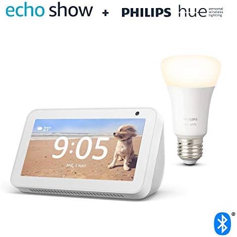 Echo Show 5, Blanco + Philips Hue Bombilla
