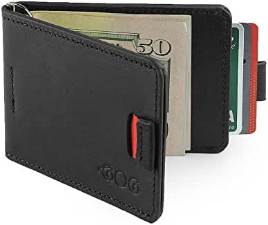 Agog Magnet Money Clip Wallet For Men - Ultra Slim Genuine Leather with Pull Tab Design - Holds Up to 10 Card Slots