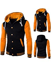 YIhujiuben Mens Winter Thicken Hoodie Down Jacket Zip-Up Patterns Warm Quilted Coat