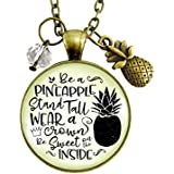 """24"""" Pineapple Necklace Stand Tall Glam Quote Women's Tropical Inspired Fun Novelty Jewelry Gift Fruit Charm"""
